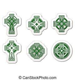 irlandese, scozzese, croce celtica, su, whi