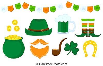 irlandese, set, barba, patrick's, nazionale, trifoglio, oro, day., tazza birra, cappello verde, gnomo, attributes, vaso, ferro cavallo, st., rosso, celebrazione