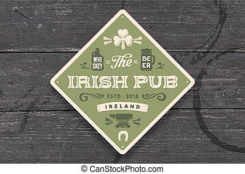 irlandese, sottobicchiere, vendemmia, pub., pub, disegno, ...