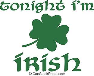 irlandese, st., giorno, stasera, sono, patrick's
