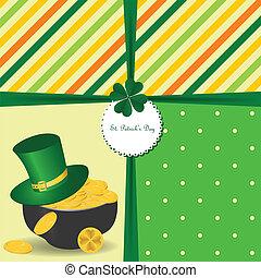 irlandese, st, simboli, vacanze, giorno, scheda, patrick's