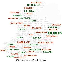 irlandia, słowo, chmura, mapa