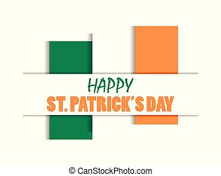 irlandzki, cięty, st., ilustracja, day., tło., bandera, wektor, papier, shadows., biały, patrick's, poza