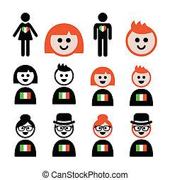 irlandzki, ikony, ludzie, st patricks dzień