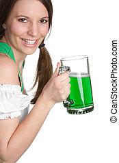 irlandzki, piwo, dziewczyna, dzierżawa