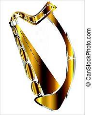 irlandzki, złoty, odizolowany, harfa