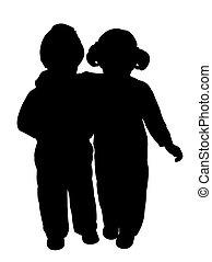 irmã, abraço, irmão