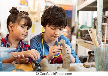 irmã, animais, argila, irmão, modelar, arte, lição