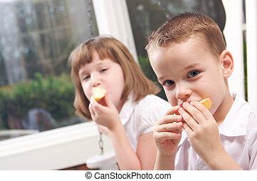 irmã, comer, irmão, &