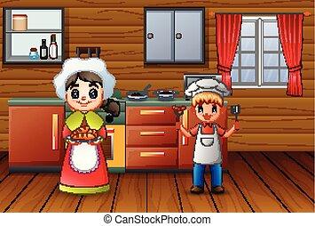 irmã, cozinhar, irmão, feliz