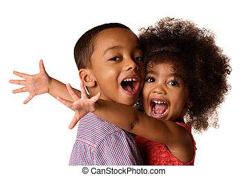 irmã, dela, africano-americano, isolado, abraçando, dois, alegre, irmãs, irmão