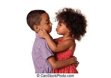 irmã, dela, africano-americano, isolado, dois, alegre, irmãs, beijando, irmão