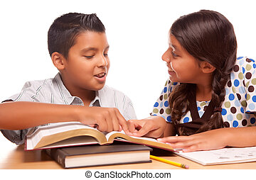 irmã, estudar, irmão, hispânico, divertimento, tendo