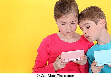 irmã, games., vídeo, irmão, tocando