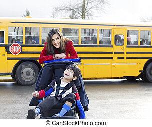 irmã, grande, cadeira rodas, escola, irmão, incapacitado,...