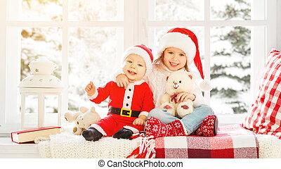 irmã, inverno, família, irmão, crianças, janela, natal, feliz
