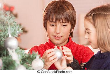 irmã, irmão, crianças, celebrando, home., natal, feliz