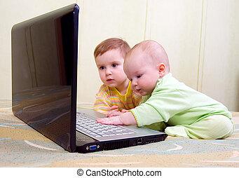 irmã, irmão, laptop