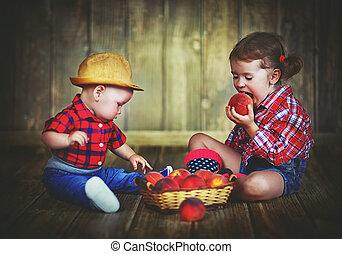 irmã, irmão, pêssegos, bebê, cesta, crianças, feliz