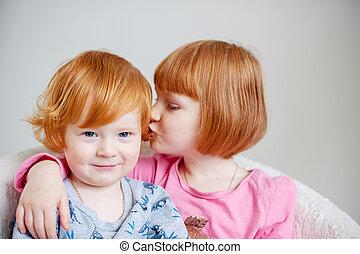 irmã, irmão, vermelho-haired