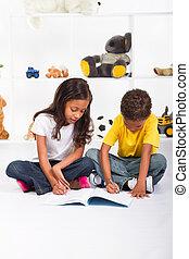 irmã, livro, irmão, desenho