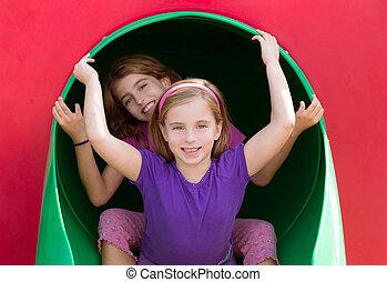 irmã, parque, meninas, pátio recreio, tocando, criança