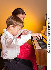 irmã, player., irmão, piano., jogar piano