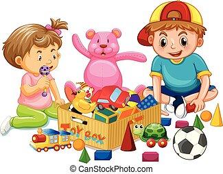 irmã, tocando, irmão, brinquedos