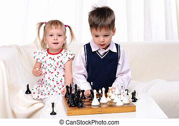 irmã, xadrez jogando, irmão
