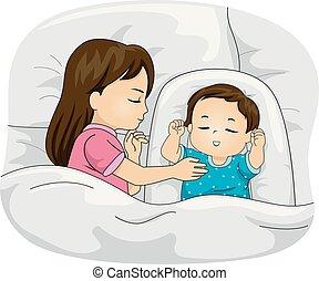 irmão, crianças, sono, toddler, ilustração