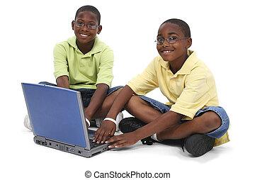 irmãos, computador