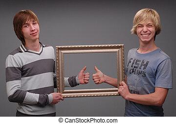 irmãos, dois, retratos
