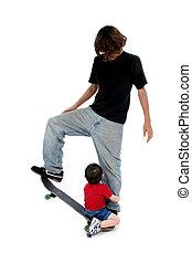 irmãos, skateboard