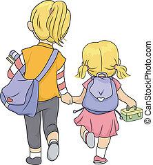 irmãs, andar, lar