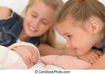 irmãs, bebê, irmão
