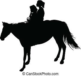 irmãs, cavalo, vetorial, silueta