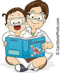 irmãs, crianças, livro, ilustração, ciência
