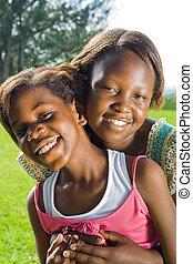 irmãs, feliz, africano