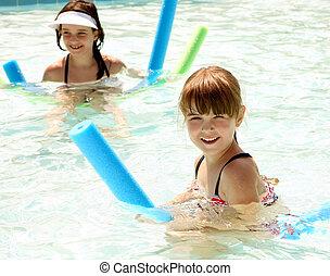 irmãs, felizmente, tocando, em, um, natação