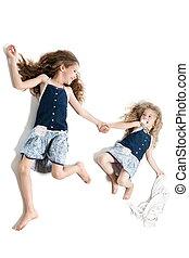 irmãs, garotinhas, cumplicidade
