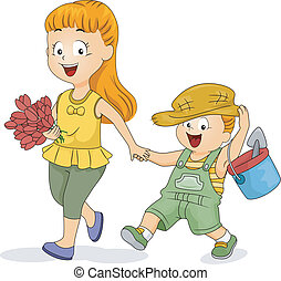 irmãs, jardinagem
