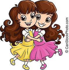 irmãs, menina, 2, abraçando, feliz