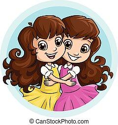 irmãs, menina, abraçando, feliz