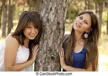irmãs, park., dois, feliz