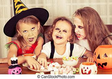 irmãs, partido, dia das bruxas, irmão, dois
