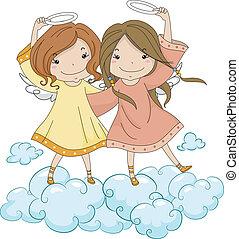 irmãs, seu, anjo, segurando, halo