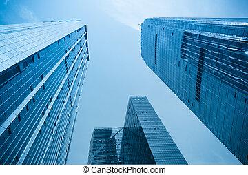 irodaépület, alatt, modern, város