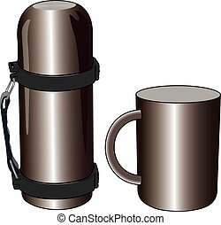 Iron and steel thermos mug for picnic vector illustration