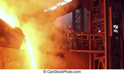 Pouring of molten iron