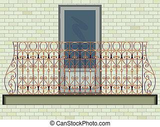 iron balcony against wall background